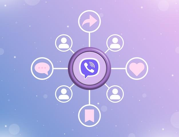 Логотип социальных сетей viber на круглой кнопке с типами социальных действий и значками пользователей 3d