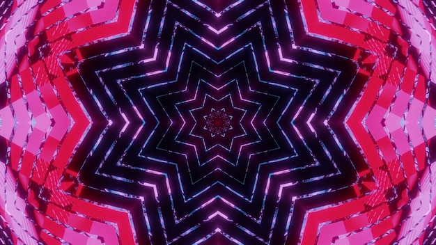 Vibrant 3d illustration 4k uhd abstract visual background with kaleidoscope star shaped neon pattern and light reflections