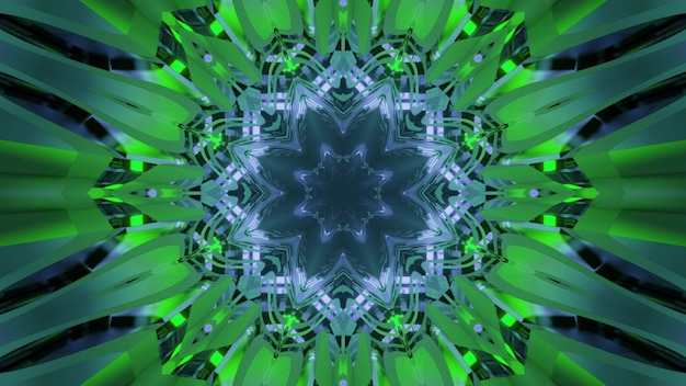 Vibrant 3d illustration abstract art visual background with optical illusion effect with green neo colors and fantastic kaleidoscopic pattern