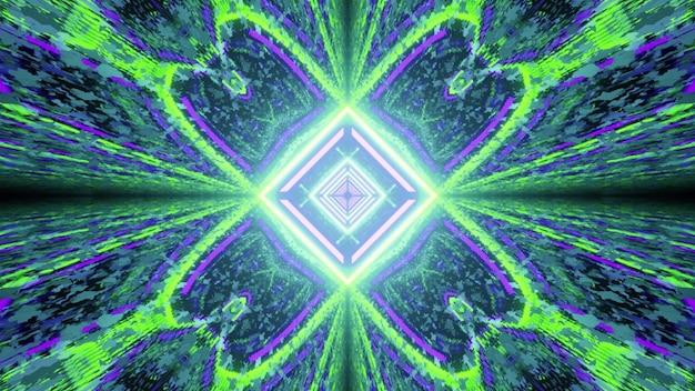 대칭 기하학적 네온 조명과 빛의 반사 및 왜곡 효과와 화려한 활기찬 3d 그림 추상