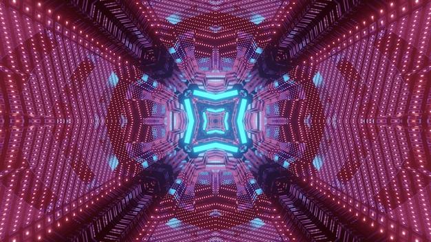기하학적 모양과 빛나는 파란색과 빨간색 네온 불빛과 함께 끝없는 터널의 활기찬 3d 그림 추상 미래의 배경