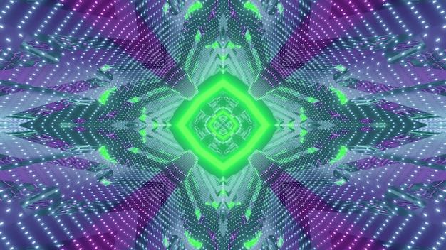 기하학적 디자인으로 미러 표면에 반영하는 녹색과 보라색 네온 불빛과 함께 미래의 복도의 활기찬 3d 그림 추상 시각적 배경