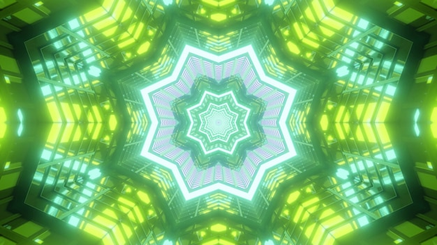 Vibrant 3d illustration abstract visual background with symmetrical kaleidoscopic green colored star and flowers shaped frames creating endless tunnel effect
