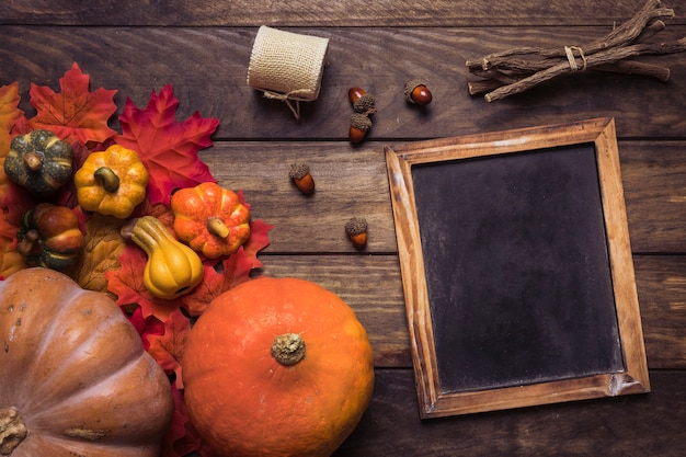 Vibrant autumn composition with blackboard frame
