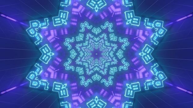 Яркие синие и фиолетовые неоновые 3d иллюстрации визуальный фон абстрактной звездной снежинки калейдоскопического орнамента с буквами, образующими бесконечный космический туннель