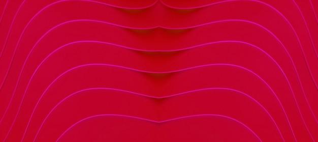 추상적인 배경을 위한 핫 핑크 예술적 곡선 라인이 있는 루비 레드의 생생한 색상