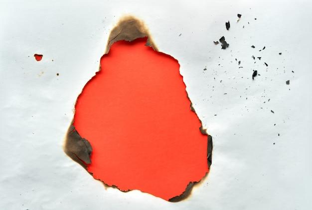 中央に焦げた穴のある鮮やかな色の紙の壁