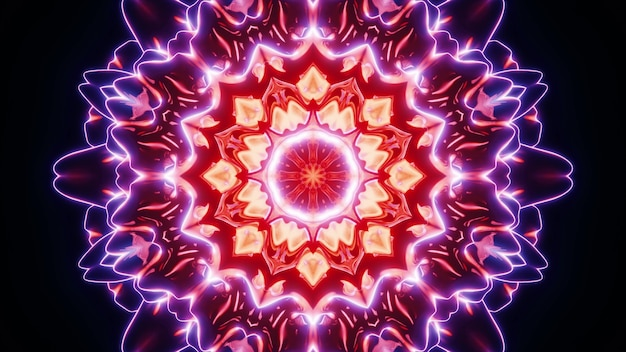 Vibrant colorful circular pattern of kaleidoscopic neon lights shimmering brightly in darkness as abstract art visual background design in 4k uhd 3d illustration