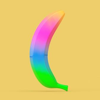 Яркий градиент банановых фруктов на желтом фоне. 3d рендеринг