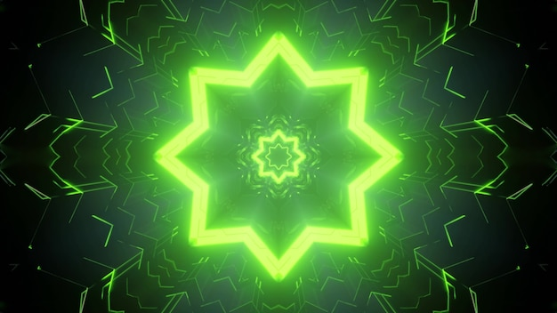 Vibrant green neon illuminated star tunnel with sci fi star as 3d illustration