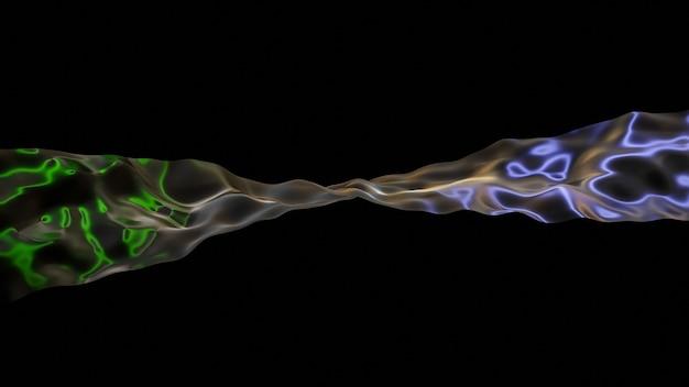 활기찬 액체 물결 모양 배경입니다. 3d 그림 추상 무지개 빛깔의 유체 렌더링입니다. 다채로운 간섭이 있는 네온 홀로그램 매끄러운 표면.