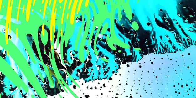 Vibrant neon splashes. modern art, juicy colors background. painting technique. watercolor wallpaper design or backdrop for device with waves, spalshes of green, white, yellow and blue colours.
