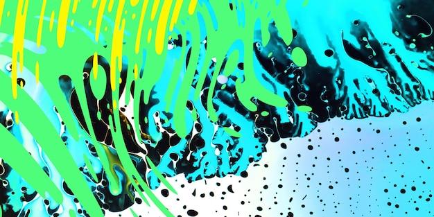 鮮やかなネオンがはねます。現代美術、ジューシーな色の背景。塗装技法。波、緑、白、黄色、青の色のスパルシュを備えたデバイスの水彩壁紙デザインまたは背景。