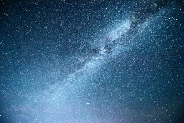 Яркое ночное небо со звездами, туманностями и галактиками.