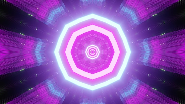 Vibrant purple luminous background in endless tunnel with repeating stripes as in