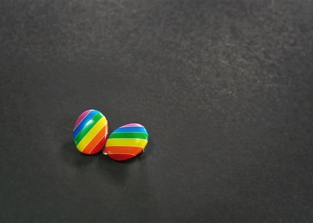 黒い背景に鮮やかなストライプ虹のイヤリング