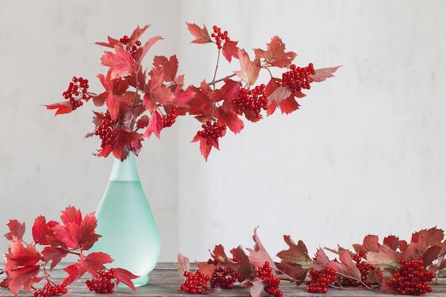 花瓶のガマズミ属の木の枝