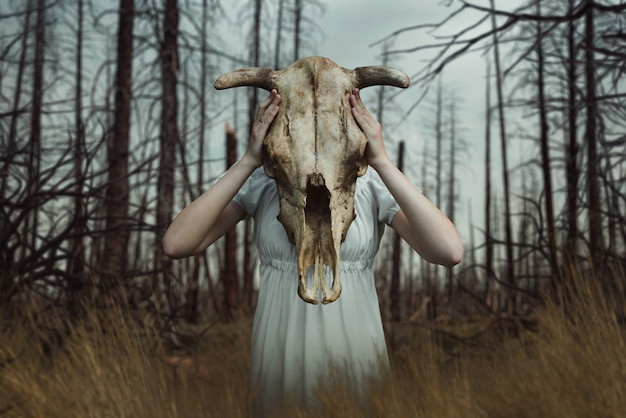 Victim with skull of the animal instead of head