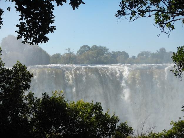 ザンビアとジンバブエの国境にあるビクトリアフォールズ