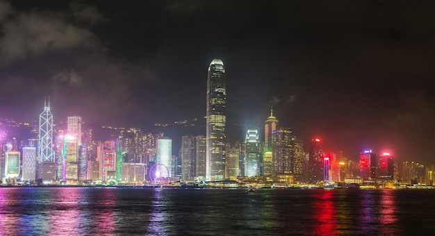Victoria harbour in hong kong at sunset