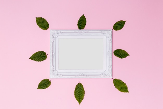 Victorian empty frame with cute leaves