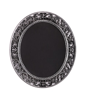 Victorian old black round frame baroque on white isolated background