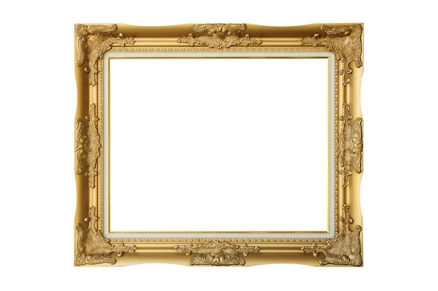 Victorian old frame. classical gold picture photo frame on isolated white background.