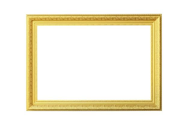 ビクトリア朝の古いフレーム。孤立した白い背景の上の古典的なゴールドの額縁。