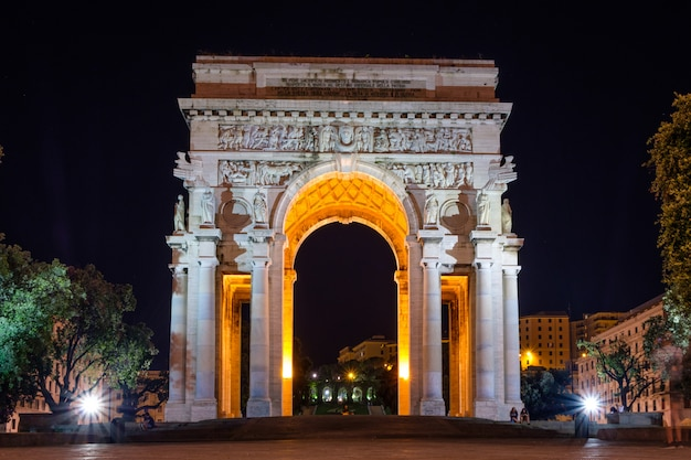 Victory arch at night in genoa