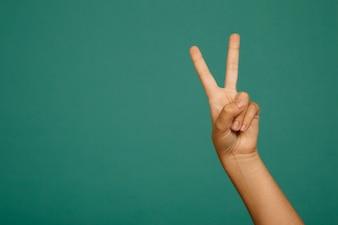 Victory hand gesture