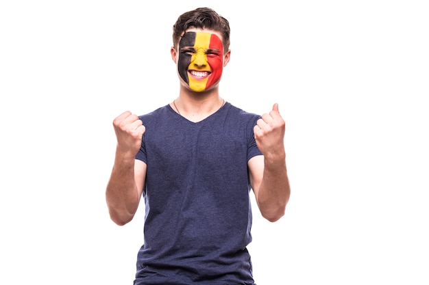 Victory, happy and goal scream emotions of belgium football fan in game support of belgium national team on white background.