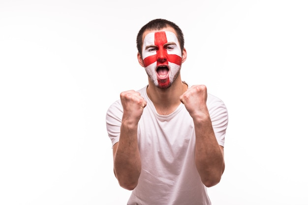 Victory, happy and goal scream emotions of british football fan in game support of england national team on white background.
