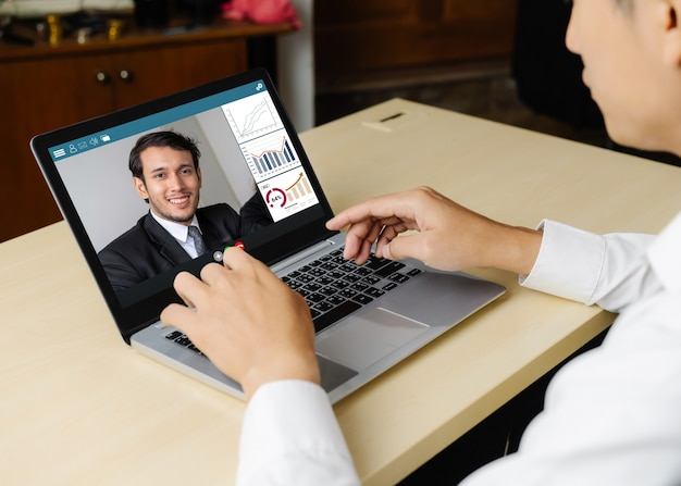 Video call business people meeting on virtual workplace or remote office