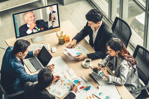 Video call group business people meeting on virtual workplace or remote office