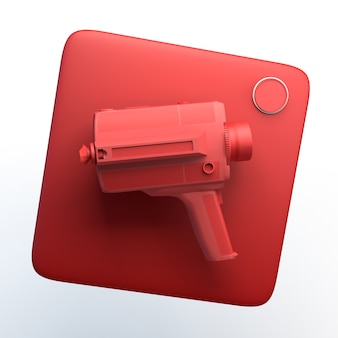 Video camera icon on isolated white background. 3d illustration. app.