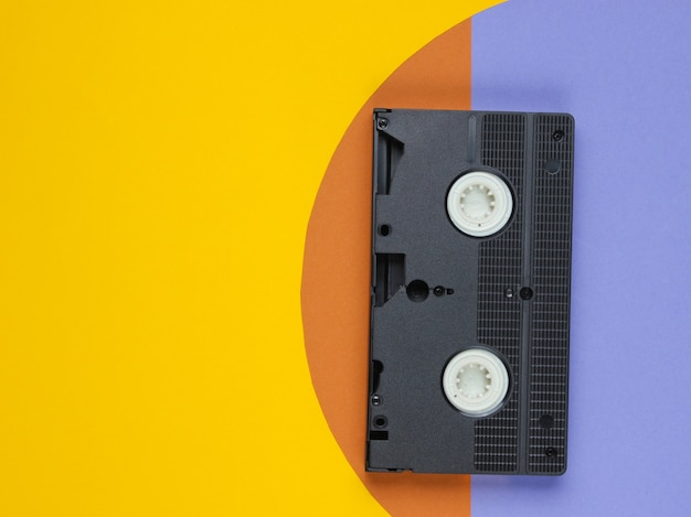 Video cassette on colored paper