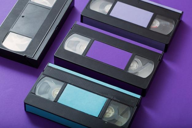 Video cassette on violet.
