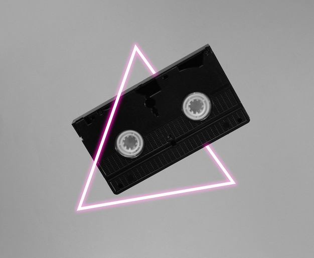 Video cassette with neon light