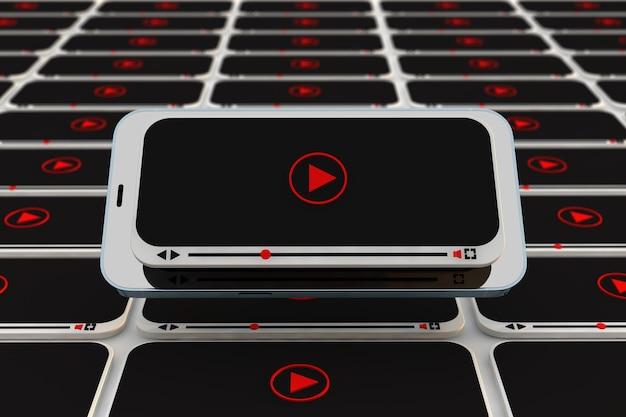 Youtube 사용자, 동영상 블로거 및 인플 루 언서를위한 스마트 폰 비디오 플레이어가 포함 된 비디오 개념. 3d 렌더링