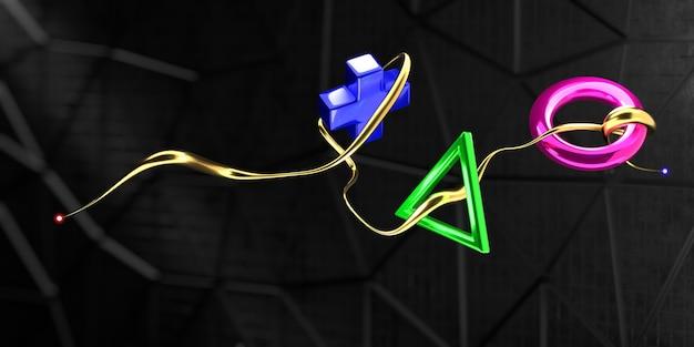블록체인 기술과 독특한 nft 아이템을 사용한 비디오 게임 컨셉. 3d 렌더링입니다.