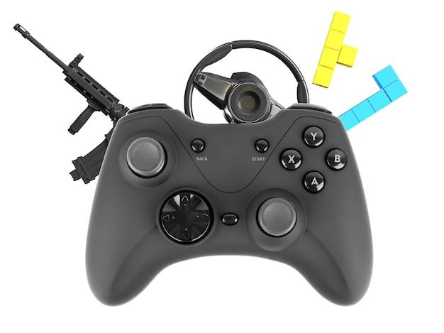 武器駆動ブロックで分離されたビデオゲームコントローラー