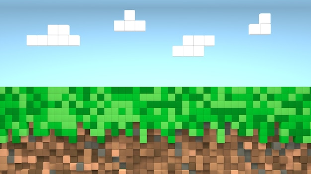 Video game pixel grass and blue sky background