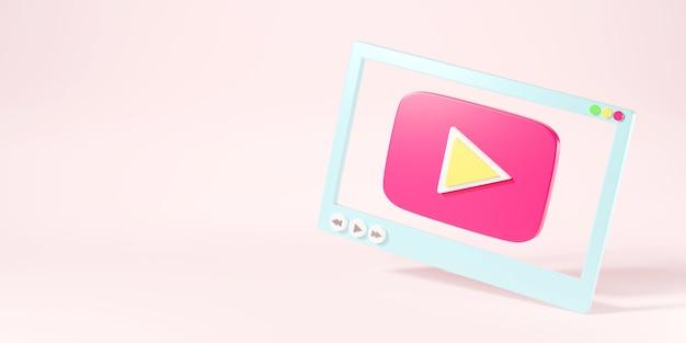 ソーシャルメディア3dレンダリングイラスト用のビデオメディアプレーヤー画面インターフェイス