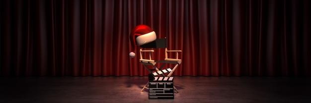 비디오 영화 시네마 크리스마스 컨셉 디렉터 의자와 영화 클래퍼 3d 렌더링