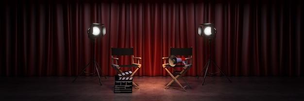 ビデオ映画シネマコンセプトディレクターズチェアと映画クラッパー3dレンダリング