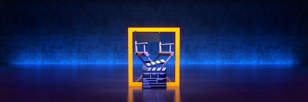 비디오 영화 시네마 개념 감독 의자 및 영화 클래퍼 3d 렌더링
