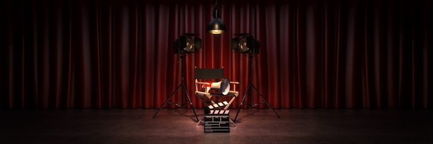 Video movie cinema concept directors chair and movie clapper 3d rendering