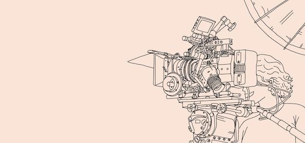 영화 촬영을 위한 비디오 제작 및 카메라 설정. 전문 8k 카메라 장비와 촬영팀과 함께하는 온라인 영상 제작 현장 비하인드. 손 그리기 스타일입니다. 삽화.