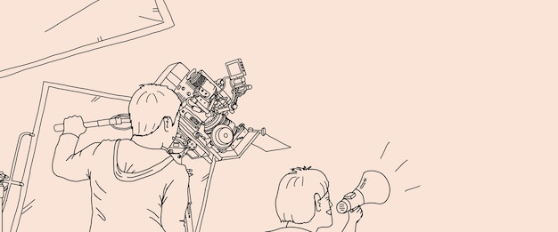 Video production and camera set up for movie shooting. behind the scenes of filming online video production with professional 8k camera equipment and film crew team. hand drawing style. illustrations.