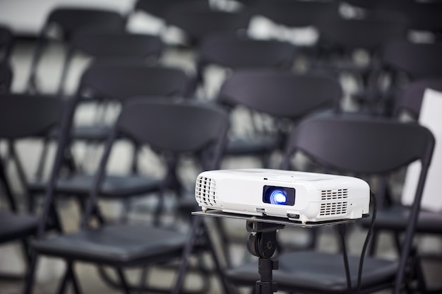 Video projector in conference hall, no people